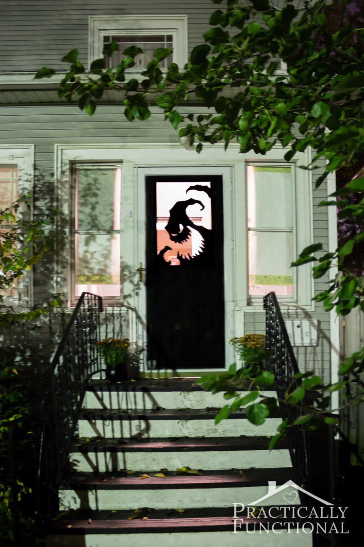 make your own halloween door decorations with vinyl a spooky oogie boogie silhouette is the