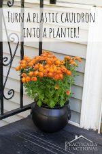 Turn A Plastic Cauldron Into A Planter!