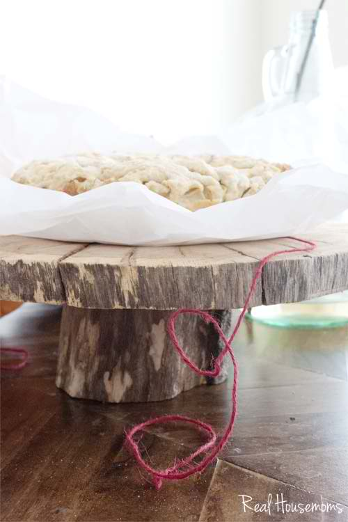 DIY Wood Slice Cake Stand from Real Housemoms
