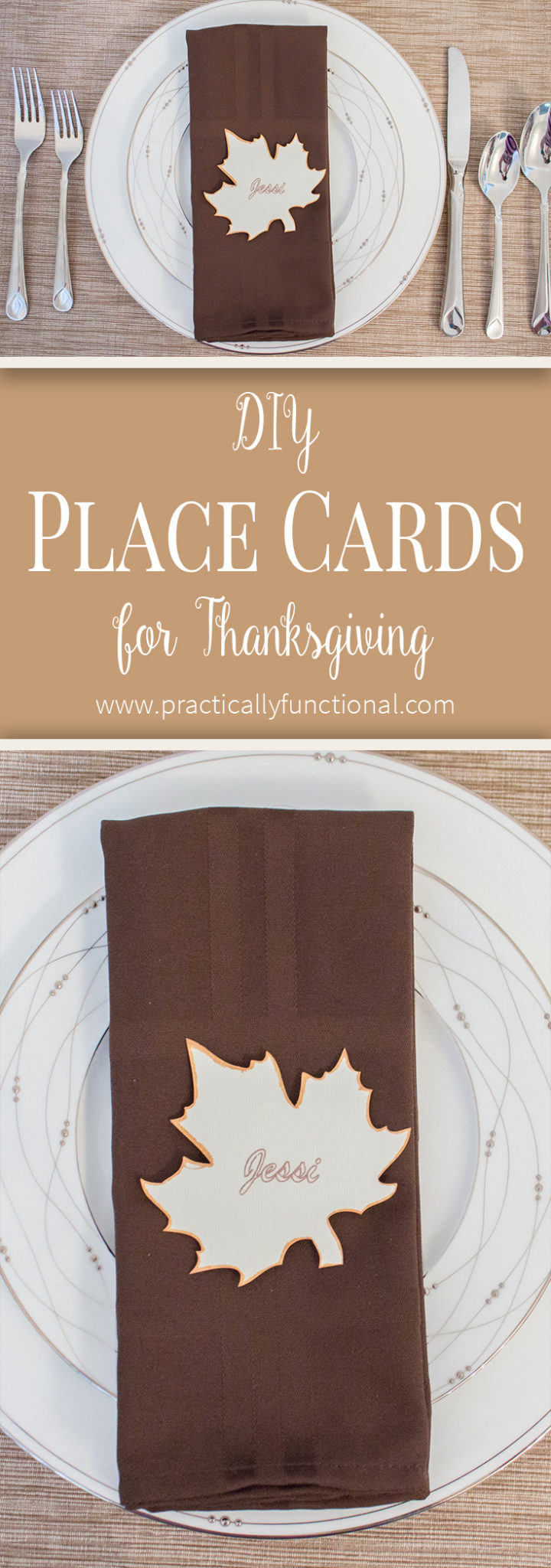 These simple Thanksgiving place cards are such an elegant and festive way to dress up your table, and they're so quick and easy to make!