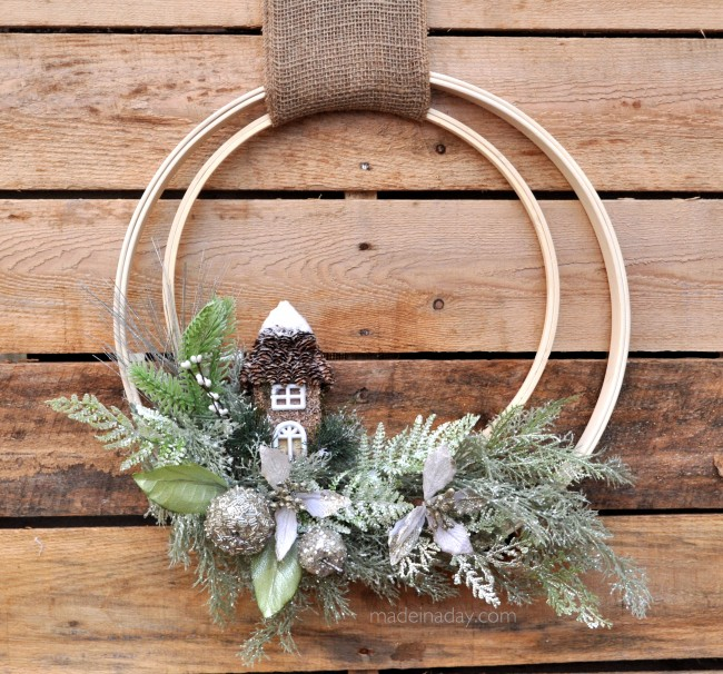 Woodland Holiday Embroidery Hoop Wreath from Made in a Day