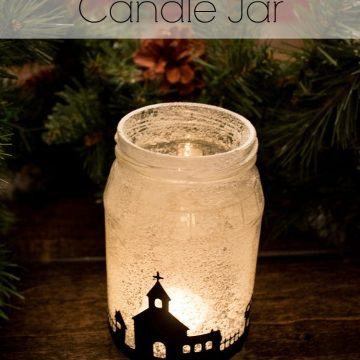 Snowy Christmas Village Silhouette Candle Jars