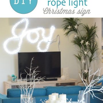 DIY Rope Light Joy Sign