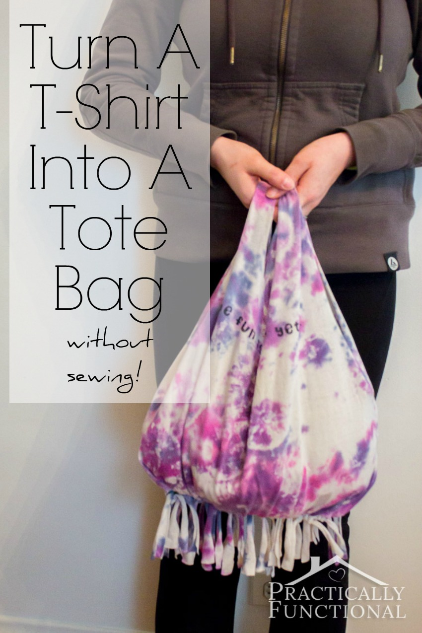 how to turn a t shirt into a tote bag without sewing