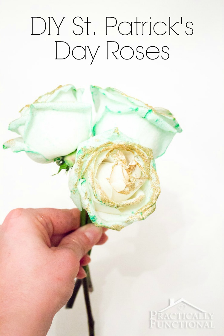How to make green roses for St. Patrick's Day! All you need is food coloring!