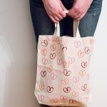 Heart Stamped Tote Bag (with toilet paper rolls!)