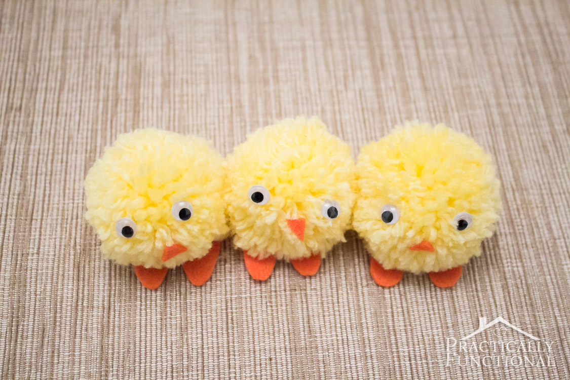 Make pom pom chicks for Easter in under ten minutes! Great craft for kids to help with!