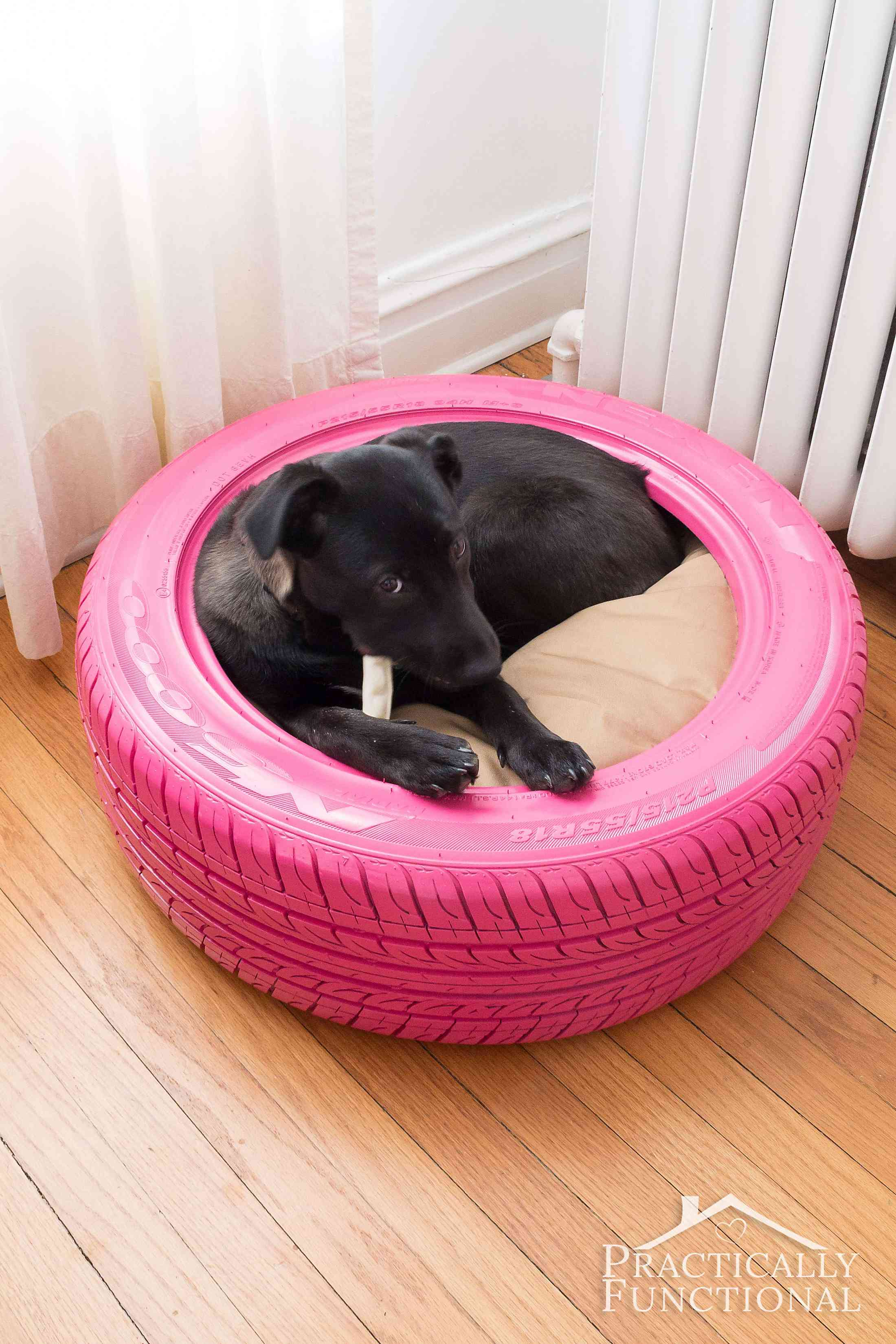 diy dog bed from a recycled tire. Black Bedroom Furniture Sets. Home Design Ideas