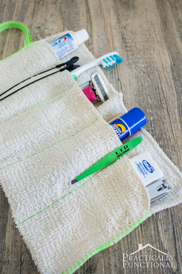 Turn a washcloth into a DIY travel kit! There's two no-sew options too if you don't sew!