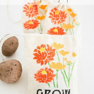 DIY Stenciled Garden Party Favor Bags