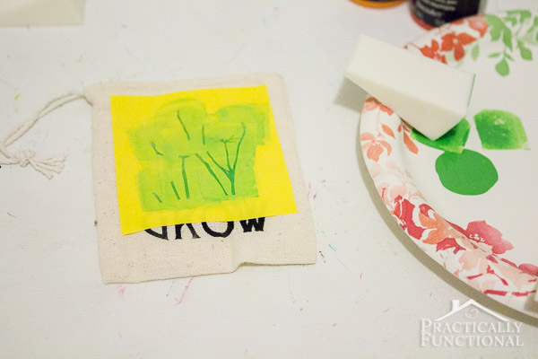 DIY Stenciled Garden Party Favor Bags - Practically Functional®