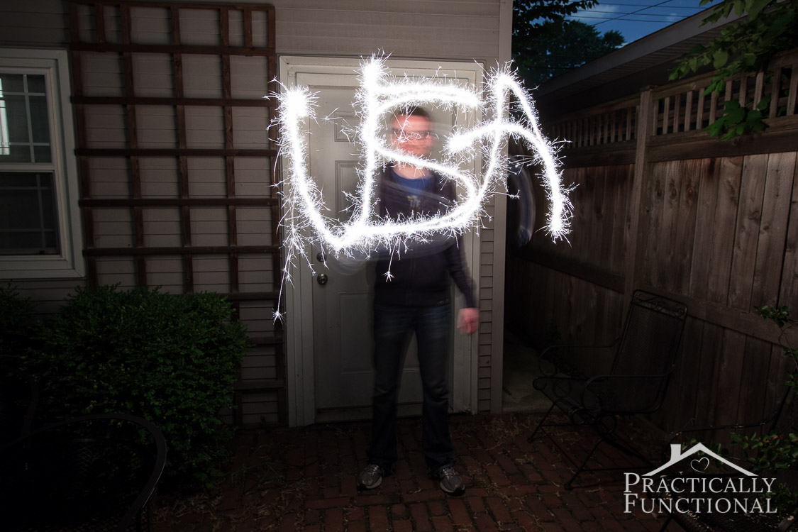 Learn how to photograph sparkler writing and trails with this simple tutorial! Great for the 4th of July, weddings, or engagement shoots!