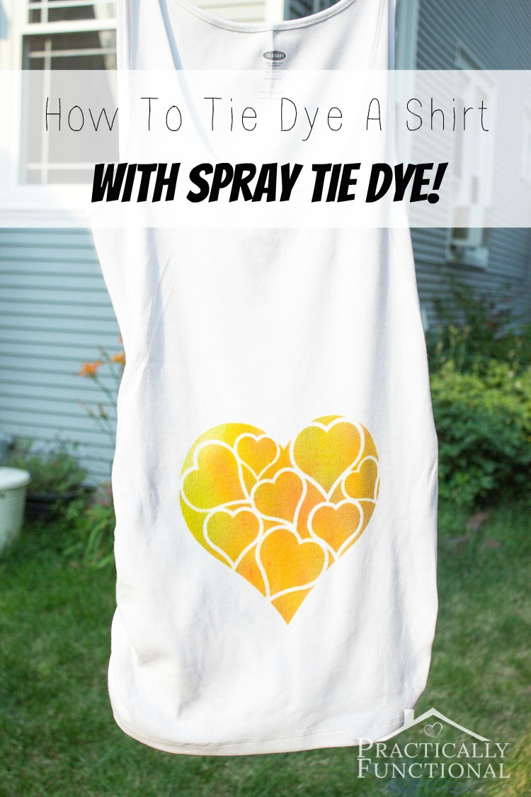 Learn how to tie dye a shirt with spray tie dye! Just put regular tie dye in a spray bottle and you can make all sorts of fancy designs!