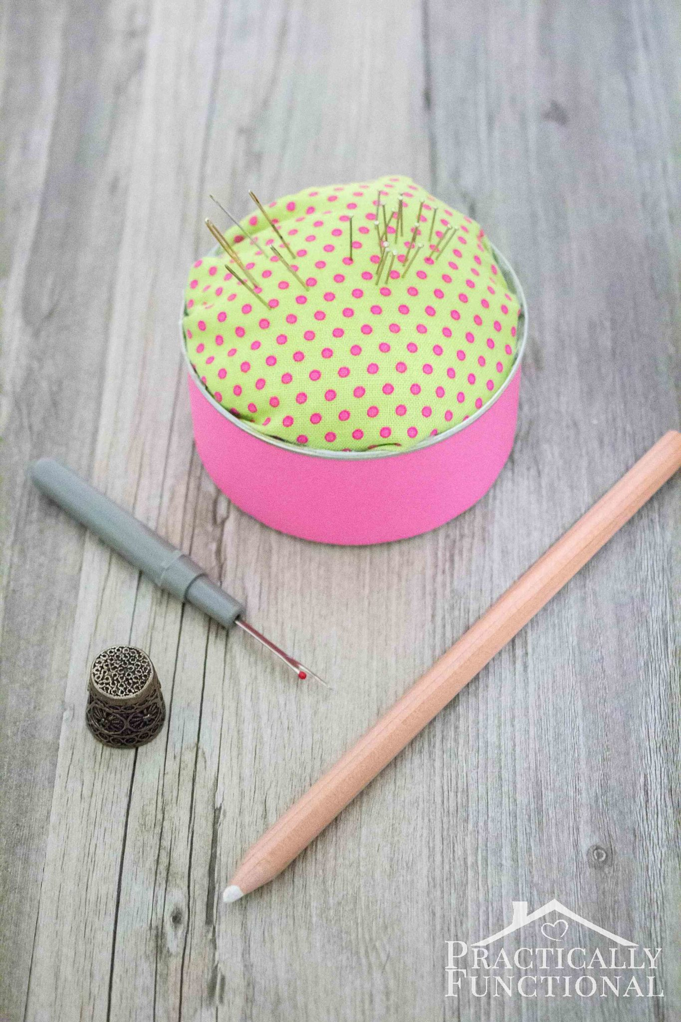 Recycle an old tin can into a pincushion in just a few minutes!
