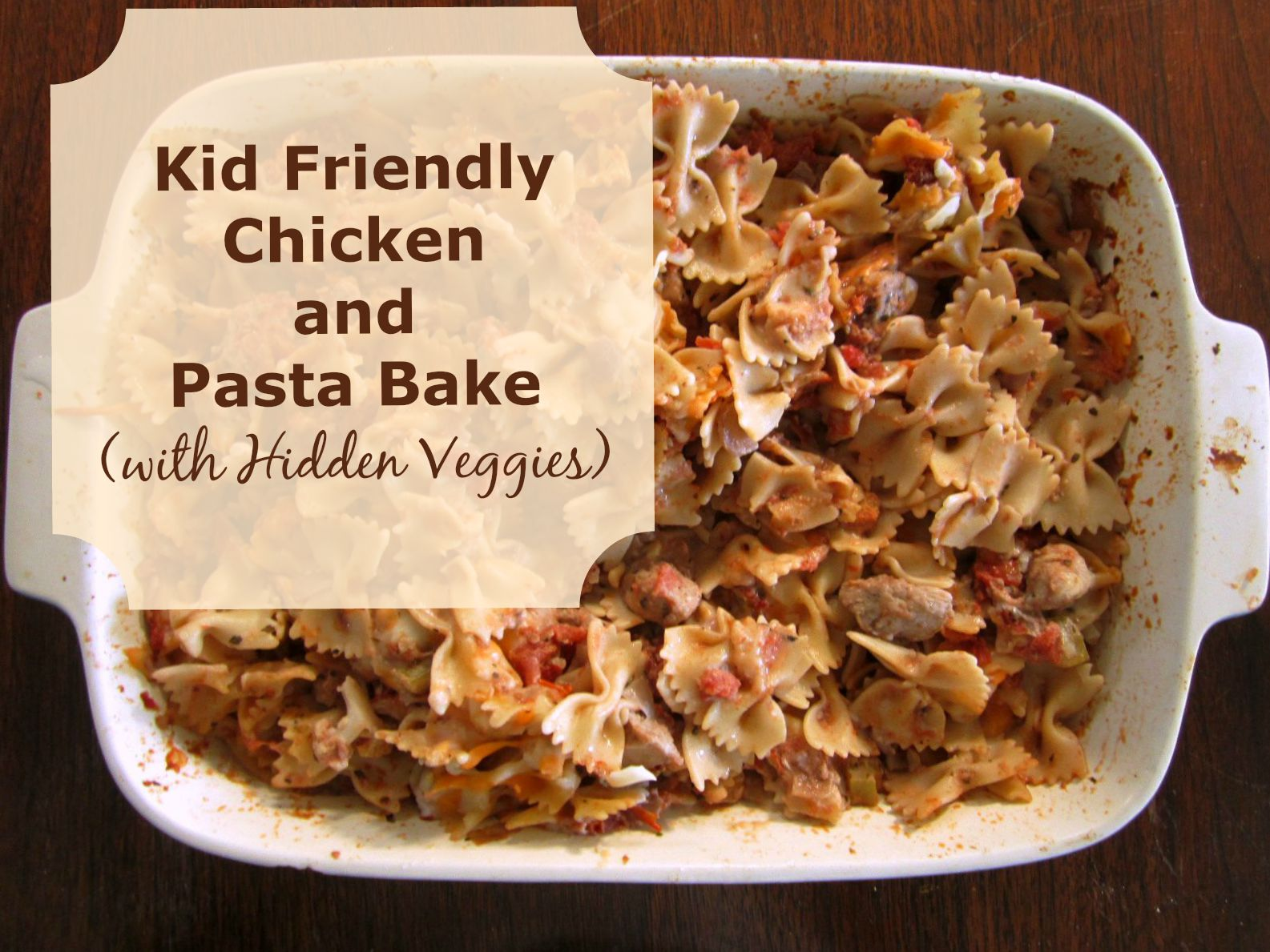 This recipe for a chicken pasta bake comes with the added bonus of hidden veggies. Everyone at the table will love this meal.