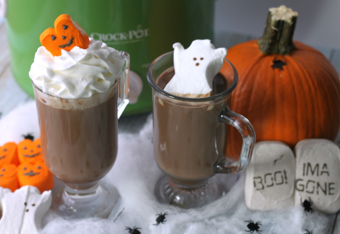 Slow Cooker Halloween Hot Chocolate is the perfect treat after an evening of trick or treating!