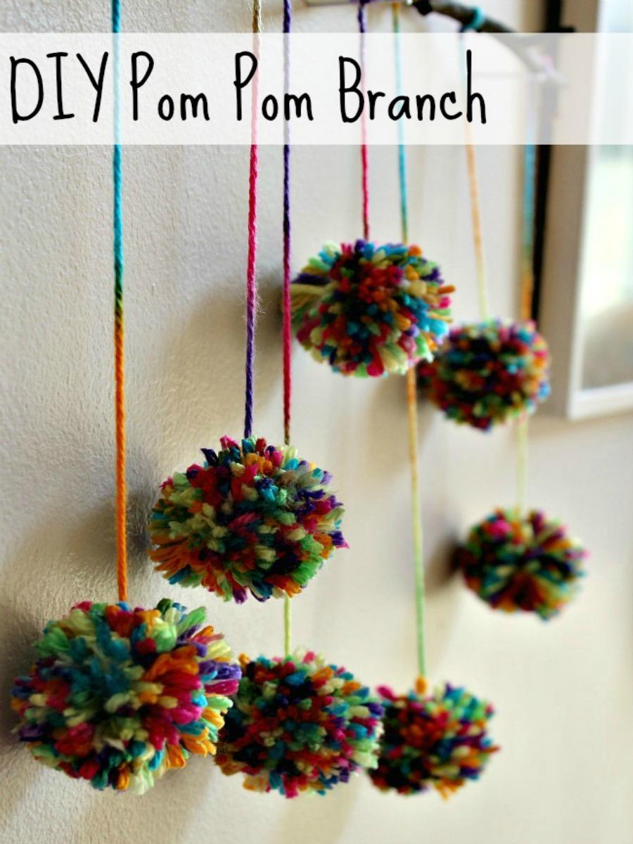 Hanging Pom Pom Decorations Diy Pom Pom Branch