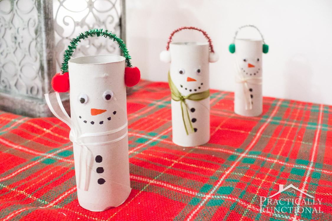 Turn empty toilet paper rolls into cute little snowmen! Great kids craft!