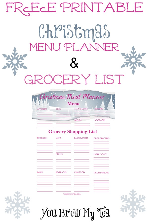 Free Printable Christmas Menu Planner and Grocery List - and 13 other Christmas printables!