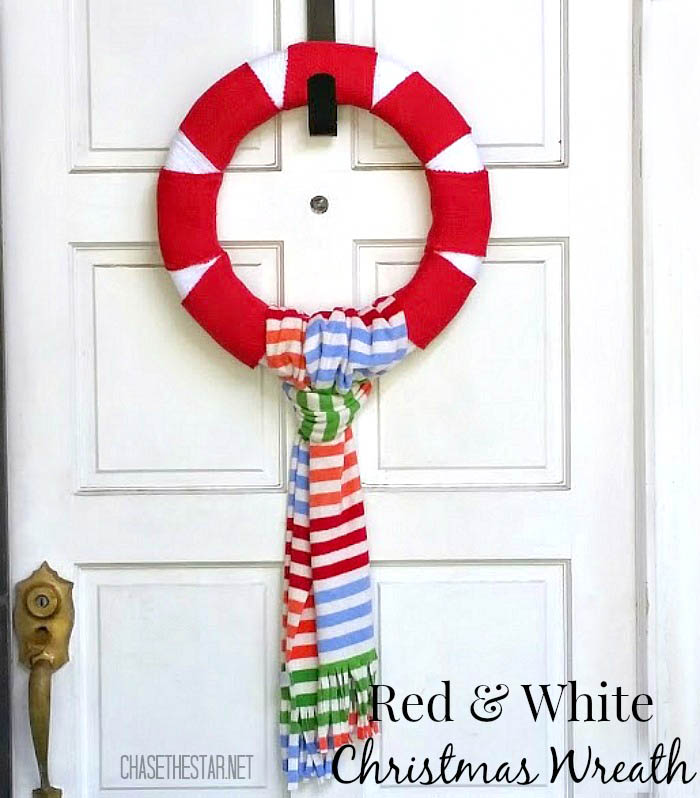 Red & White Winter Wreath - and 10 other gorgeous DIY holiday wreaths!