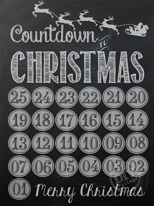 Chalkboard Christmas Countdown Printable - and 13 other Christmas printables!