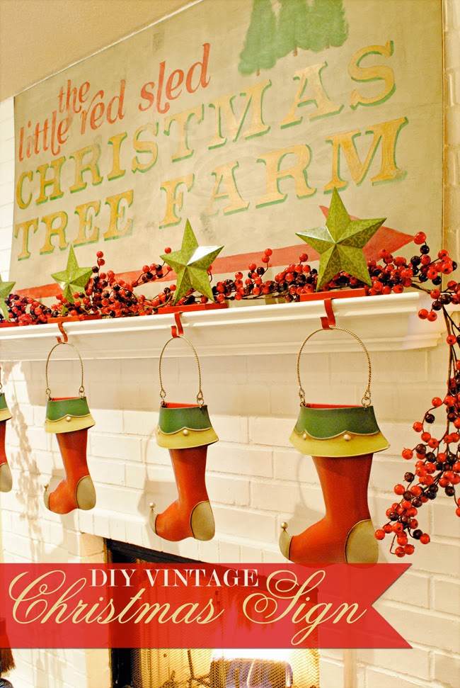 DIY Vintage Christmas Sign - and 13 other great Christmas projects!