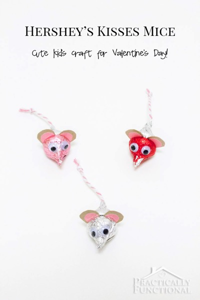 DIY Valentines Day Hersheys Kisses Mice - and 18 other fun Valentine's Day crafts!