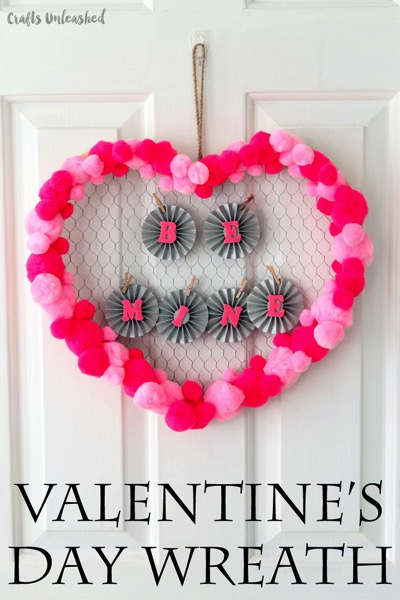Be Mine DIY Valentine's Day Wreath - and 18 other fun Valentine's Day crafts!