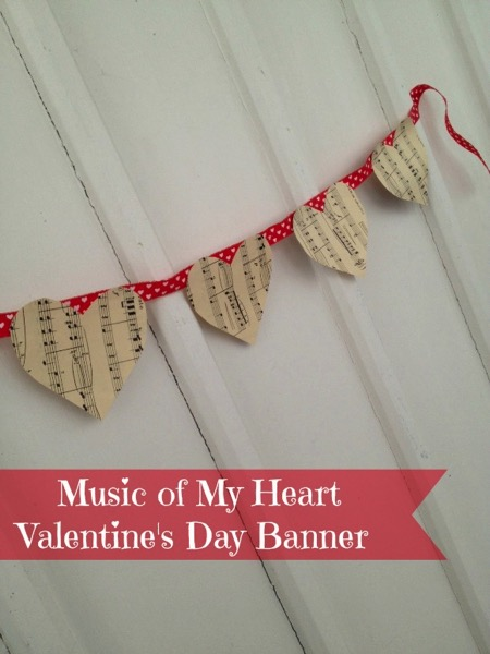 Sheet Music Valentine's Day Heart Banner - and 18 other fun Valentine's Day crafts!