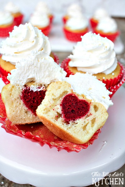 Surprise Inside Heart Cupcakes - and 24 other delicious Valentine's Day treats!