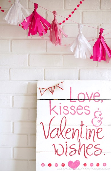 Tissue Paper Tassle Garland - and 18 other fun Valentine's Day crafts!