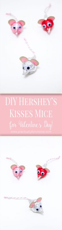 Hershey's Kisses mice for Valentine's Day! Such a cute and easy kid's craft, all you need is kisses, paper, string, googly eyes, and non-toxic glue!