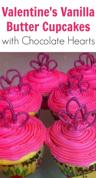 Valentines Vanilla Butter Cupcakes with Chocolate Hearts - and 24 other delicious Valentine's Day treats!