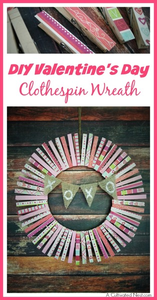 Diy valentines day clothespin wreath - and 18 other fun Valentine's Day crafts!