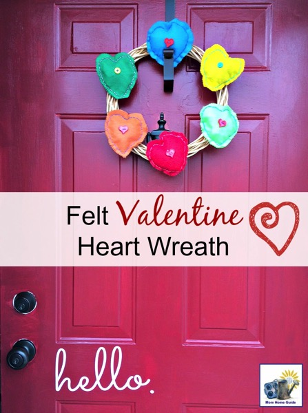 Felt Valentine heart wreath - and 18 other fun Valentine's Day crafts!