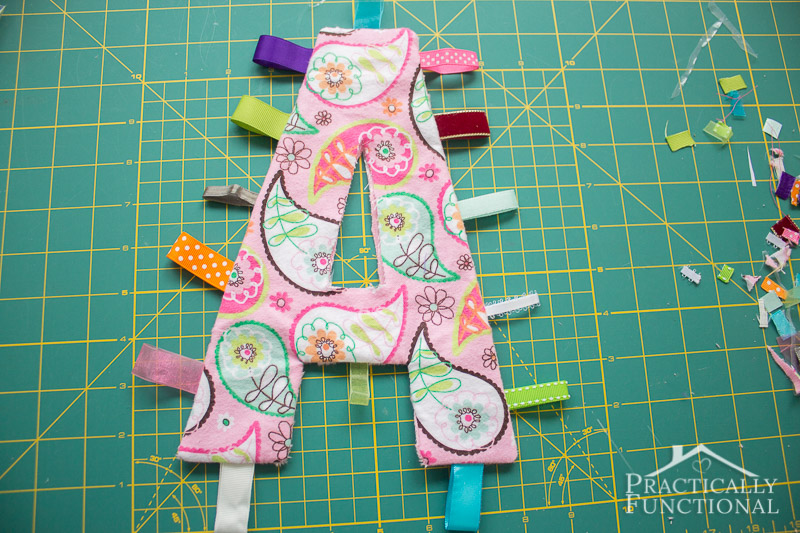 DIY Crinkle Monogram Tag Toy 8