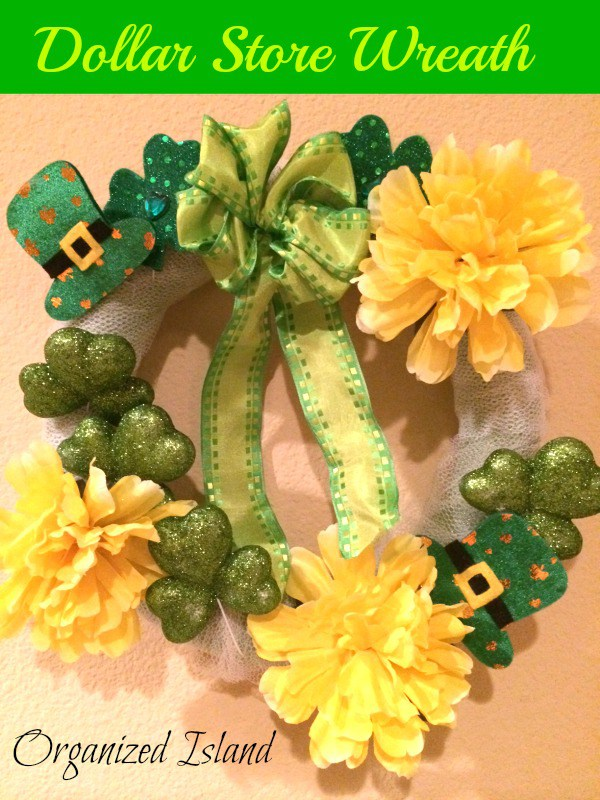 Dollar store St. Patrick's Day wreath - and 16 other fun St. Patrick's Day projects!