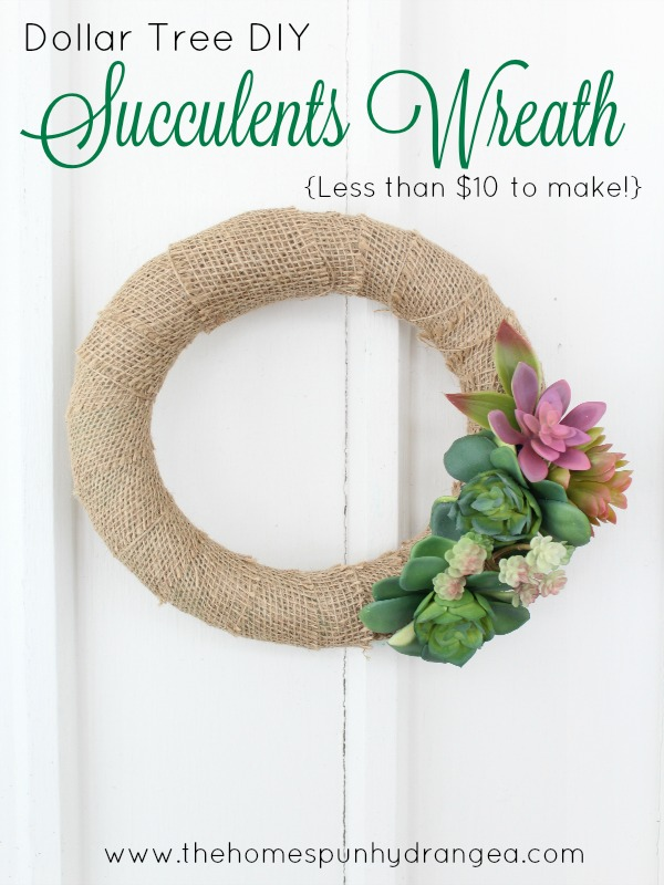 Dollar Tree Succulent Wreath - and 11 other festive DIY spring projects!