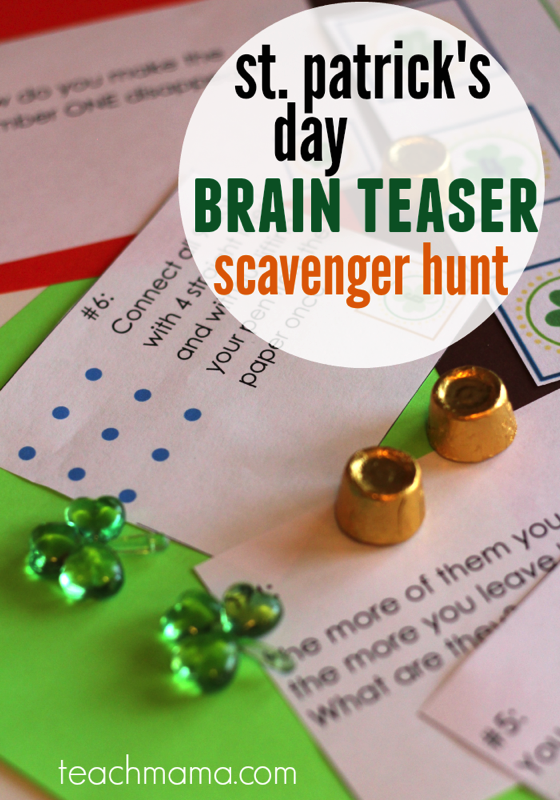 St Patrick's Day brain teaser scavenger hunt - and 16 other fun St. Patrick's Day projects!