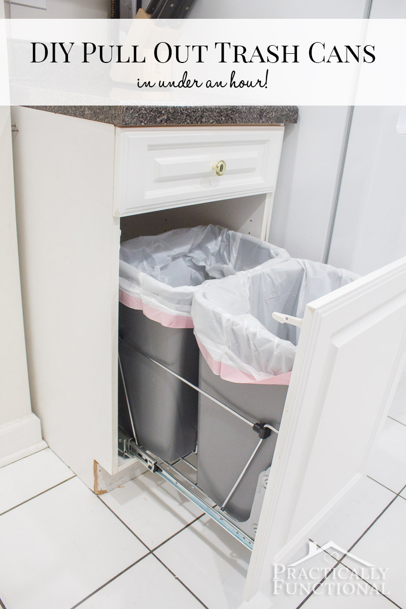 Set up your own pull out trash cans in under an hour; so easy to do!
