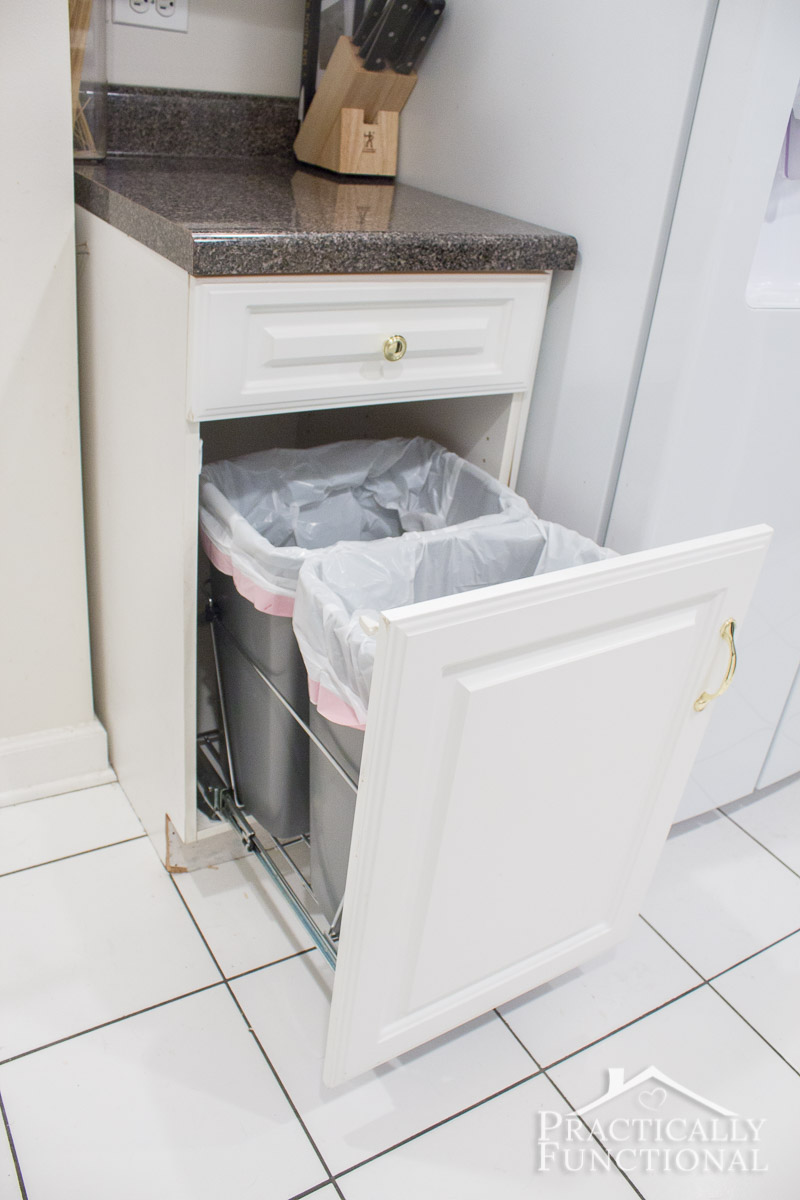 Convert an empty cabinet into pull out trash cans in under an hour; all you need is a pull out trash can kit!