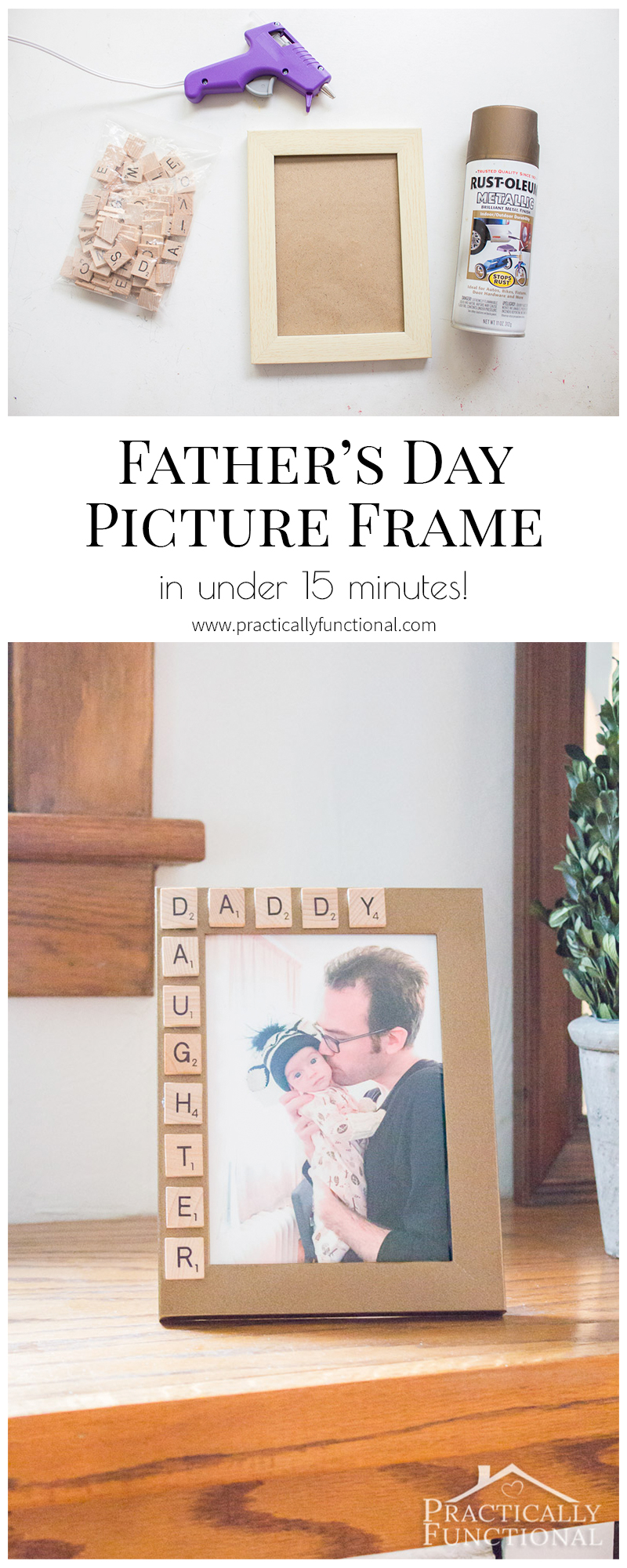 Super cute Father's Day picture frame idea; he can take it to the office and you can update the photo every once in a while so he always has a current photo with him!