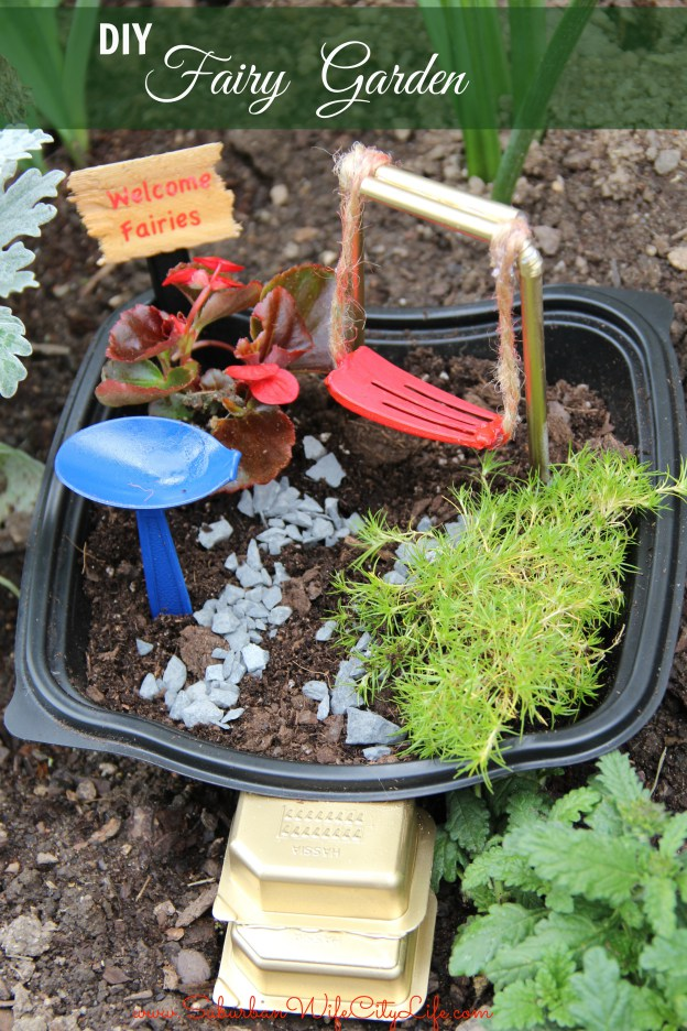 DIY Recycled Fairy Garden - and 13 other simple DIY outdoor weekend projects!