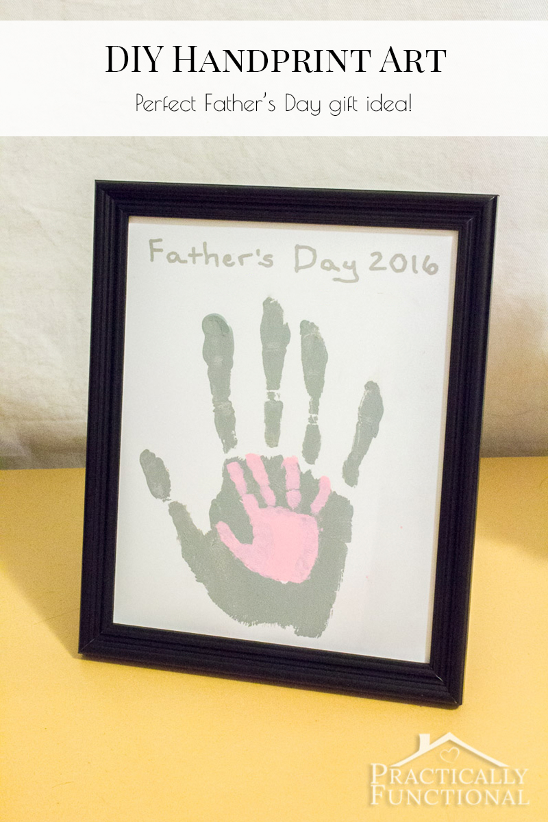 This cute handprint art is a perfect Father's Day gift, and a fun activity for the kids to do with Dad!