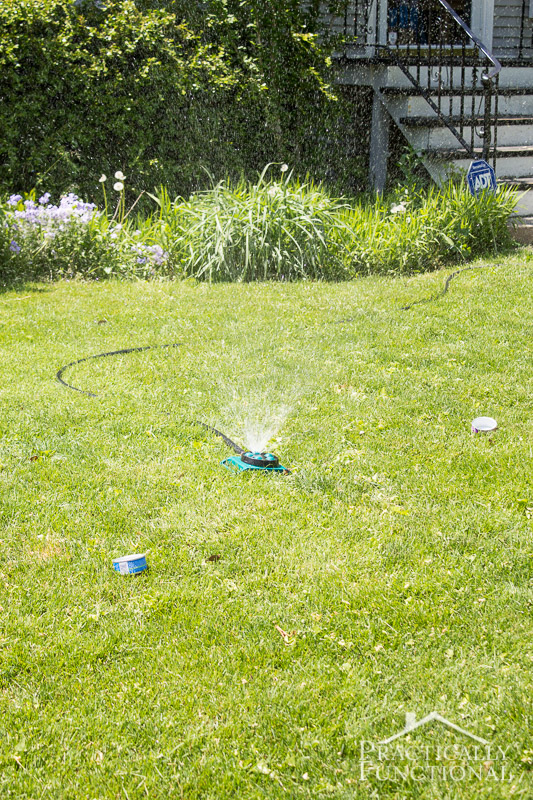 """Make a simple DIY sprinkler gauge to figure out how long to leave the sprinkler running on your lawn to get the recommended 1"""" of water per week!"""