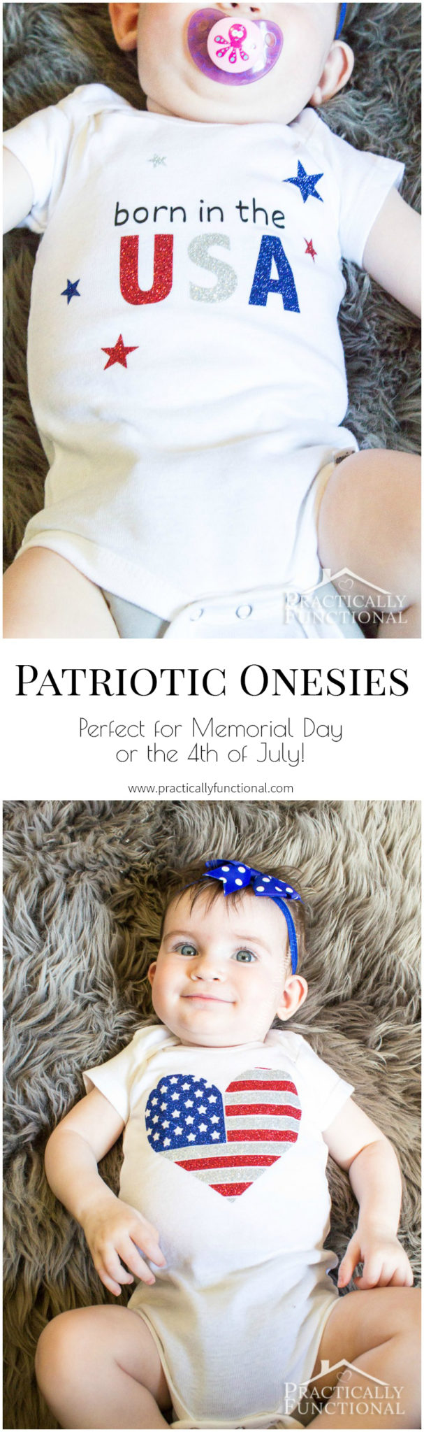 These patriotic onesies are too cute, and perfect for celebrating Memorial Day or the 4th of July! #4thofjuly #patrioticcrafts
