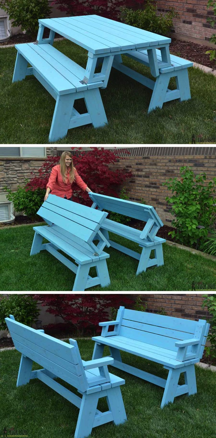 So creative 14 diy outdoor weekend projects Picnic table that turns into a bench