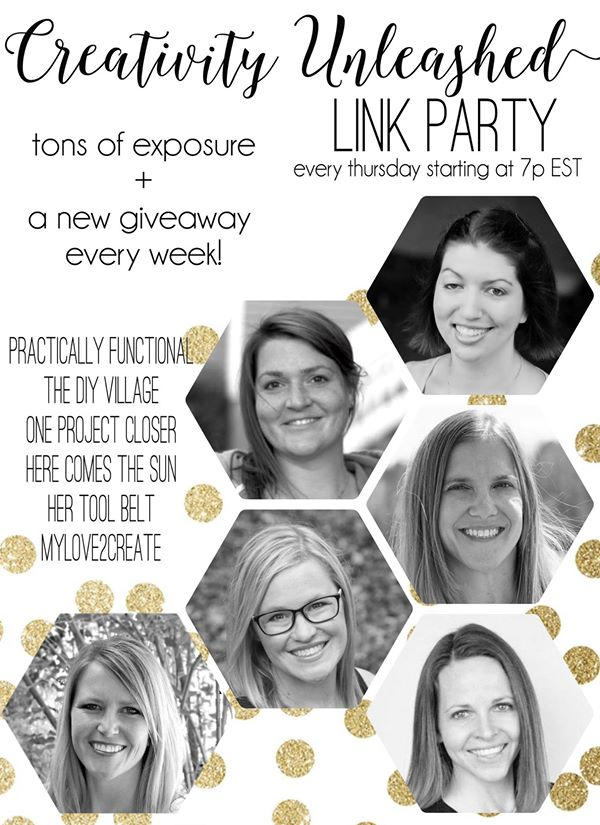 The Creativity Unleashed link party runs every weekend starting Thursdays at 7pm!