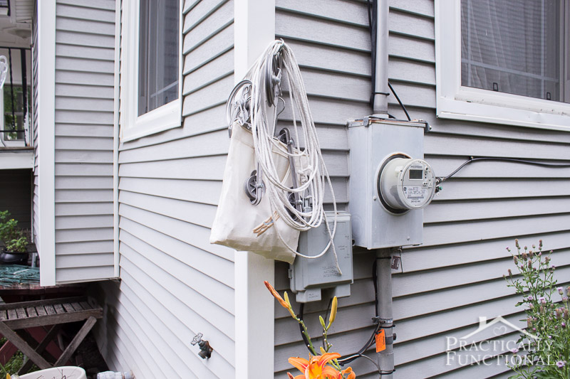 DIY pulley clothesline that you can easily remove and reinstall so you don t hit your head