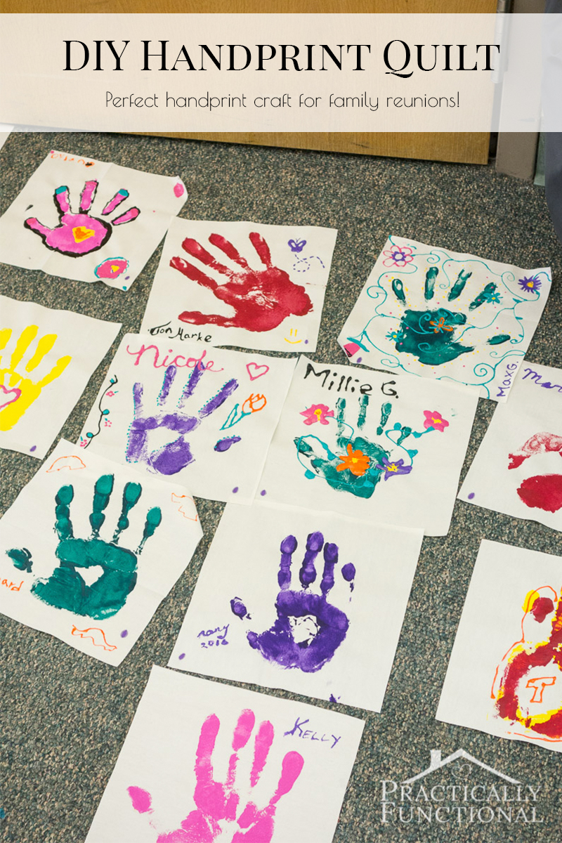 Everyone makes a square for a handprint quilt; great idea for a family reunion handprint craft!